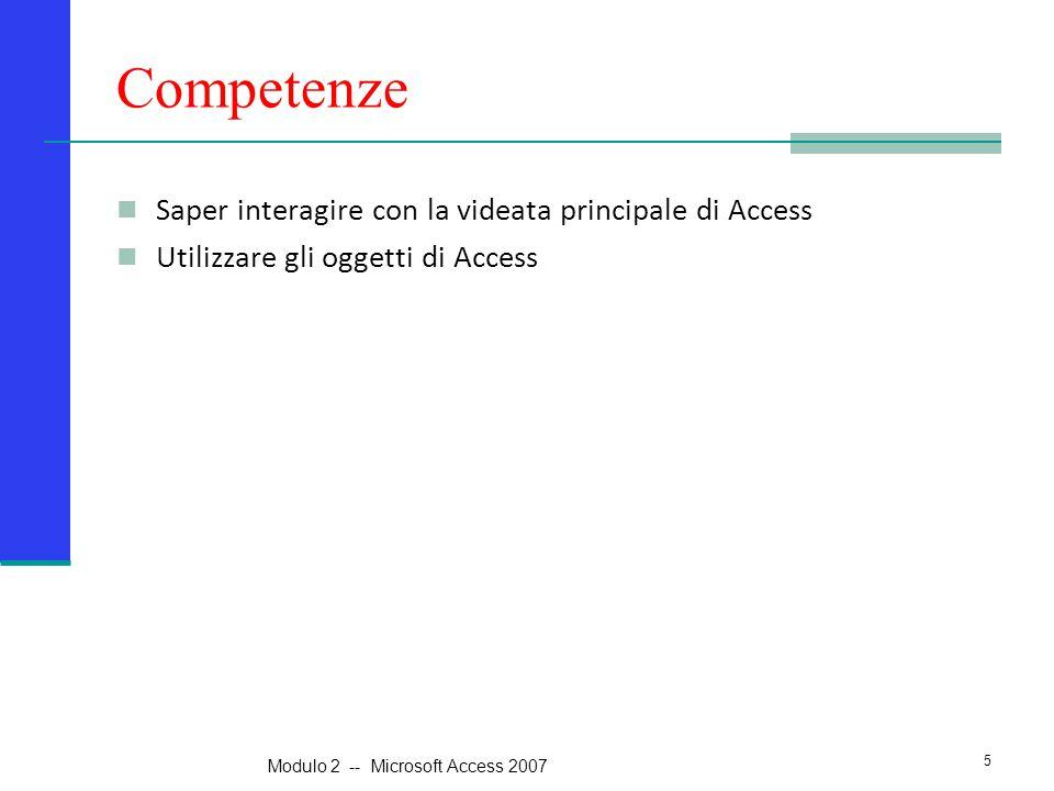Competenze Saper interagire con la videata principale di Access