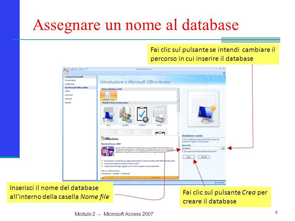 Assegnare un nome al database