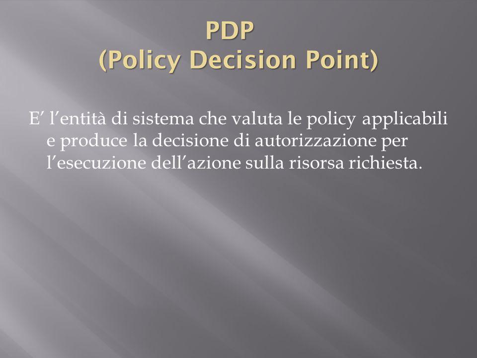 E' l'entità di sistema che valuta le policy applicabili e produce la decisione di autorizzazione per l'esecuzione dell'azione sulla risorsa richiesta.