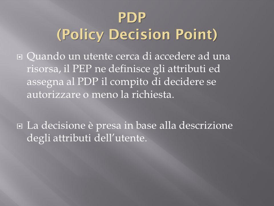Quando un utente cerca di accedere ad una risorsa, il PEP ne definisce gli attributi ed assegna al PDP il compito di decidere se autorizzare o meno la richiesta.