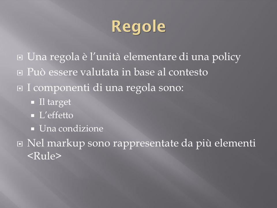 Una regola è l'unità elementare di una policy