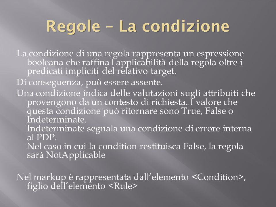 La condizione di una regola rappresenta un espressione booleana che raffina l applicabilità della regola oltre i predicati impliciti del relativo target.