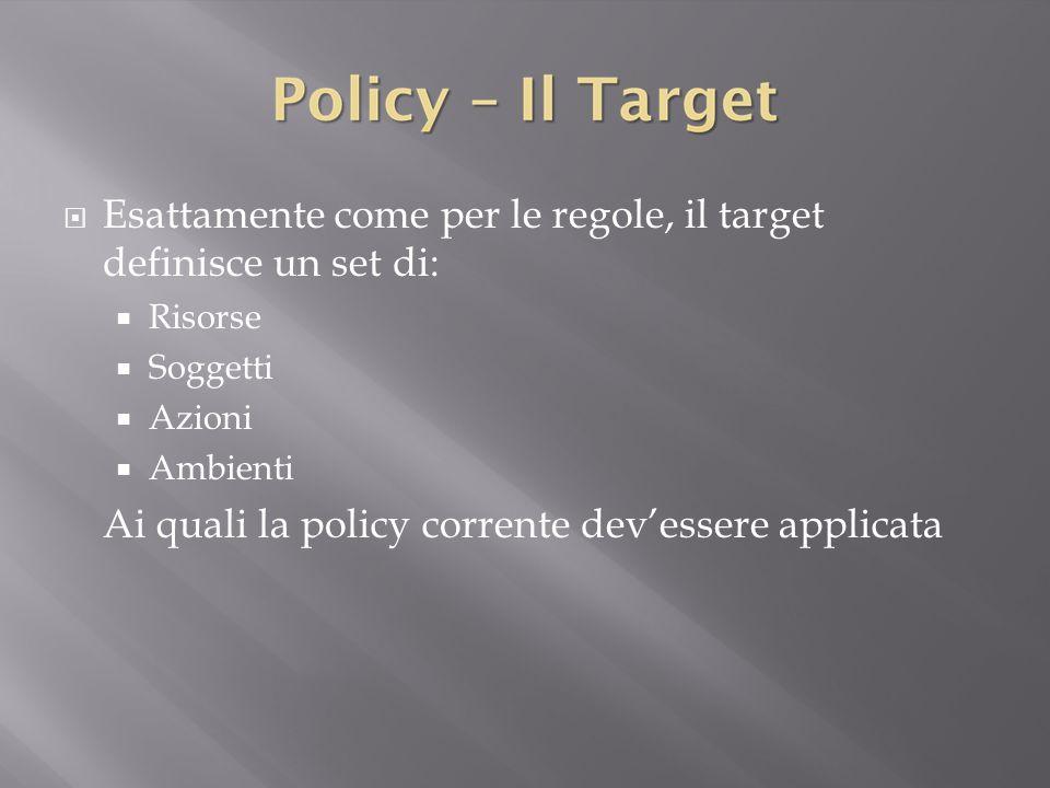 Esattamente come per le regole, il target definisce un set di: