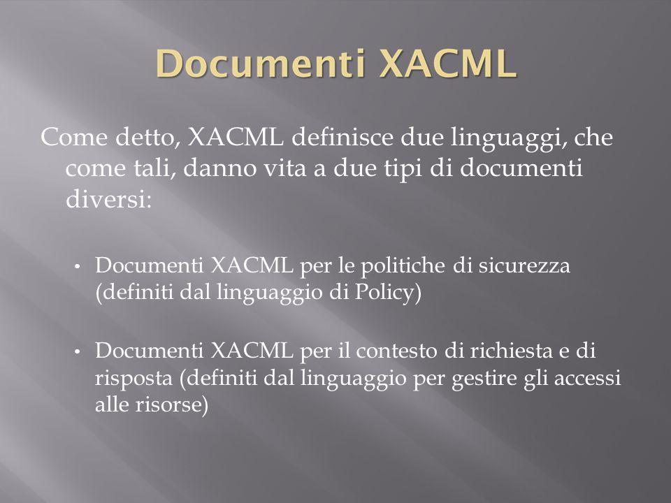 Come detto, XACML definisce due linguaggi, che come tali, danno vita a due tipi di documenti diversi: