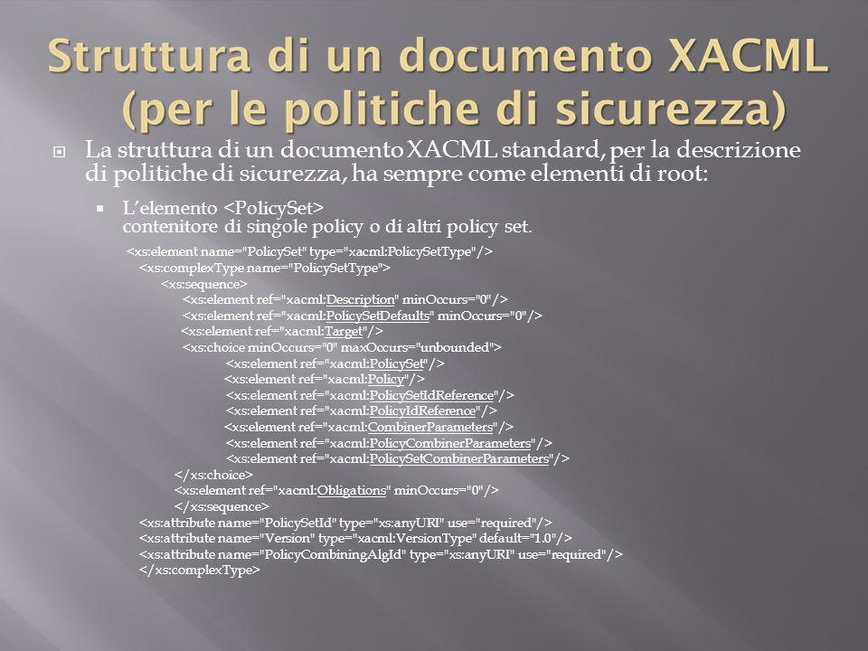 La struttura di un documento XACML standard, per la descrizione di politiche di sicurezza, ha sempre come elementi di root: