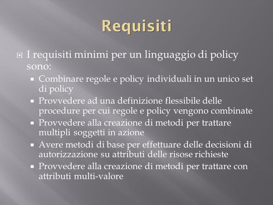 I requisiti minimi per un linguaggio di policy sono:
