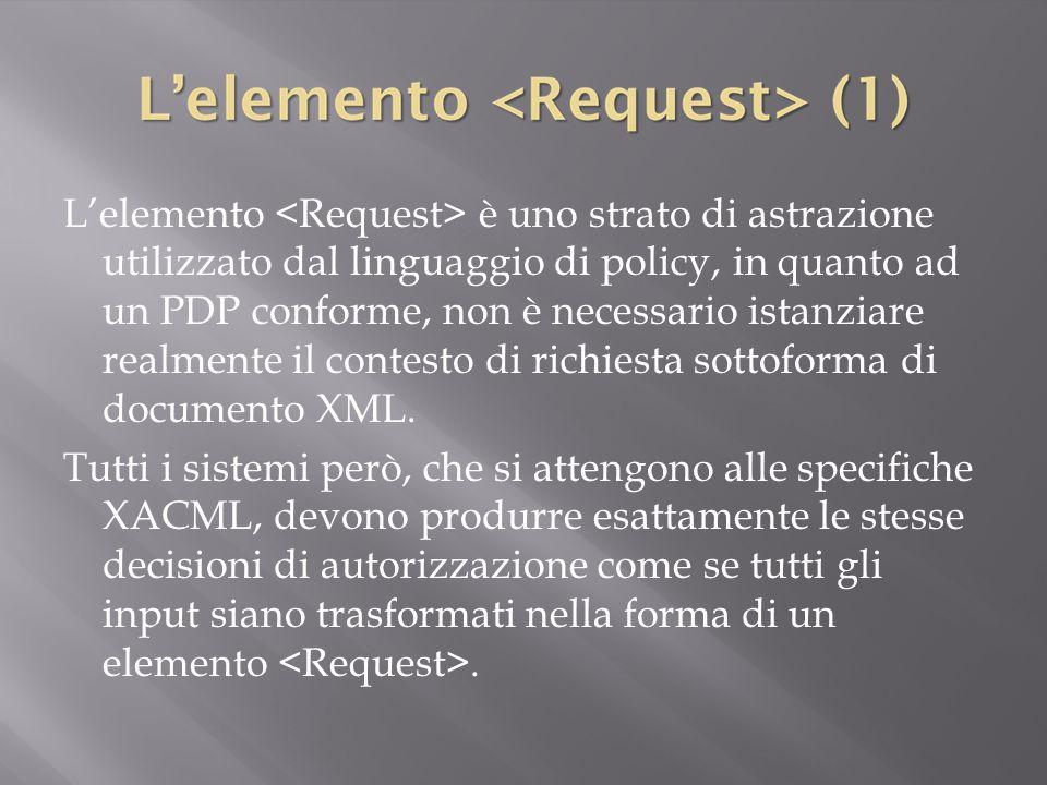 L'elemento <Request> è uno strato di astrazione utilizzato dal linguaggio di policy, in quanto ad un PDP conforme, non è necessario istanziare realmente il contesto di richiesta sottoforma di documento XML.
