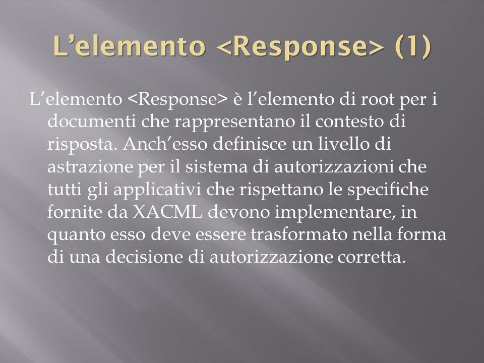L'elemento <Response> è l'elemento di root per i documenti che rappresentano il contesto di risposta.