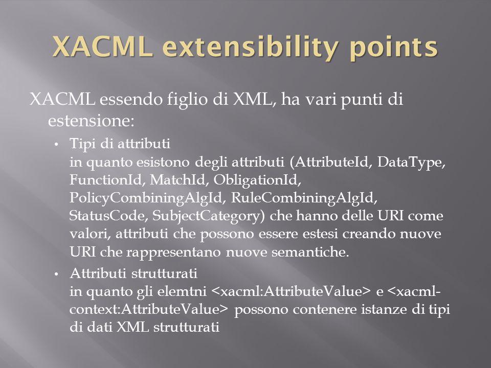 XACML essendo figlio di XML, ha vari punti di estensione: