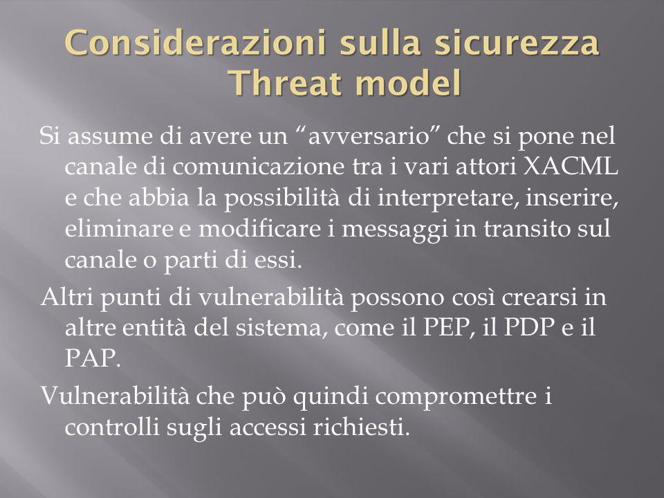 Si assume di avere un avversario che si pone nel canale di comunicazione tra i vari attori XACML e che abbia la possibilità di interpretare, inserire, eliminare e modificare i messaggi in transito sul canale o parti di essi.