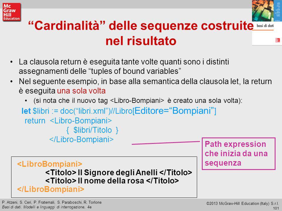 Cardinalità delle sequenze costruite nel risultato