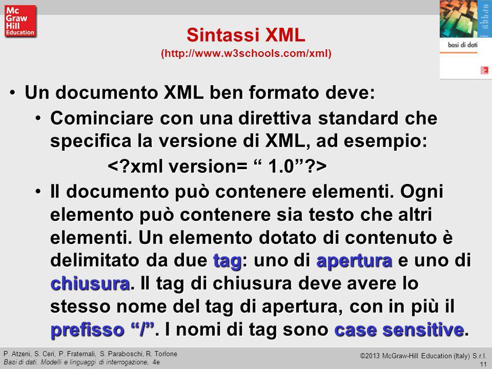 Sintassi XML (http://www.w3schools.com/xml)