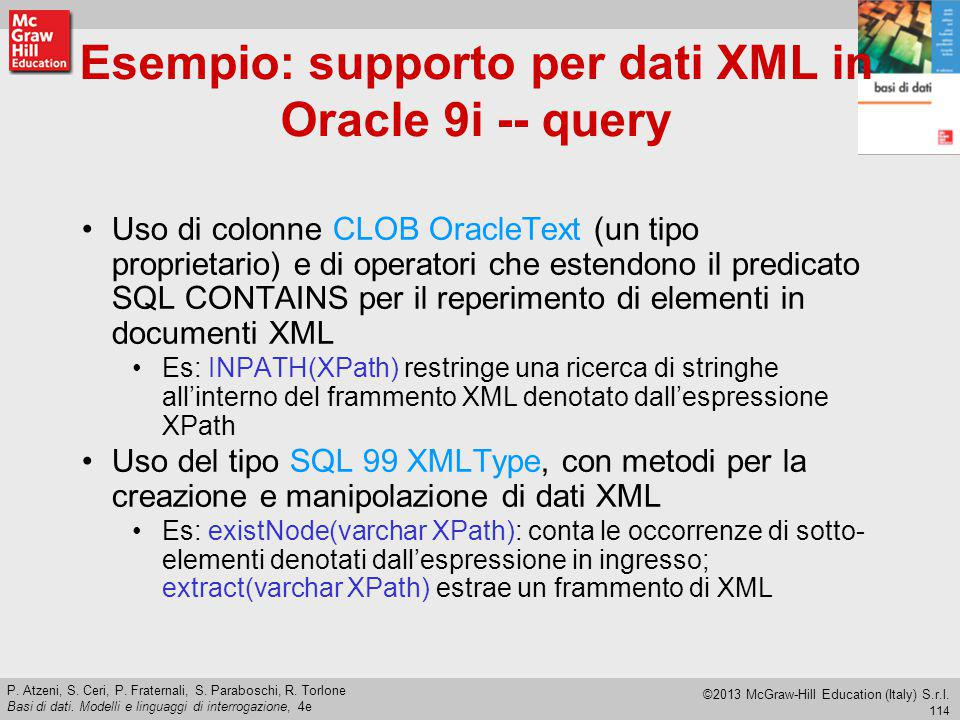 Esempio: supporto per dati XML in Oracle 9i -- query