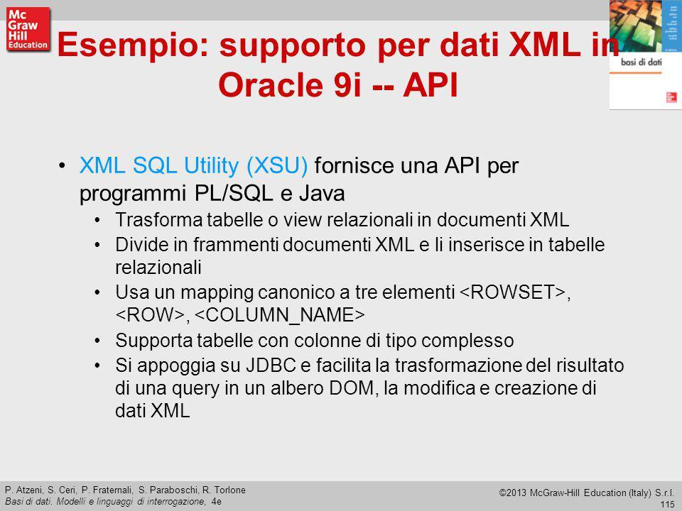 Esempio: supporto per dati XML in Oracle 9i -- API
