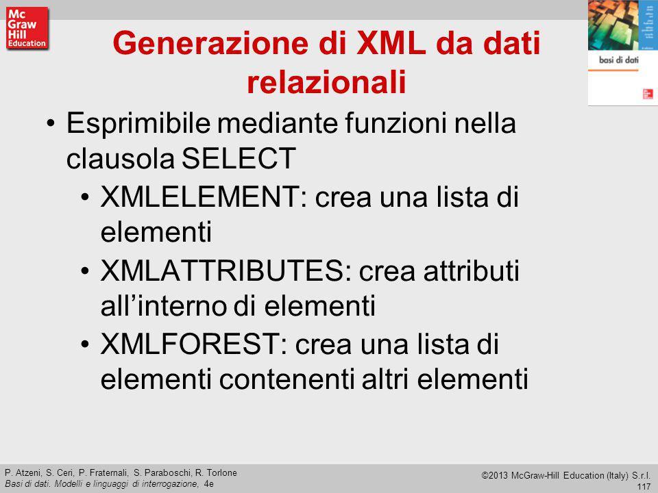 Generazione di XML da dati relazionali