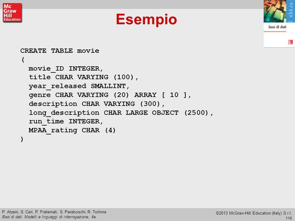 Esempio CREATE TABLE movie ( movie_ID INTEGER,