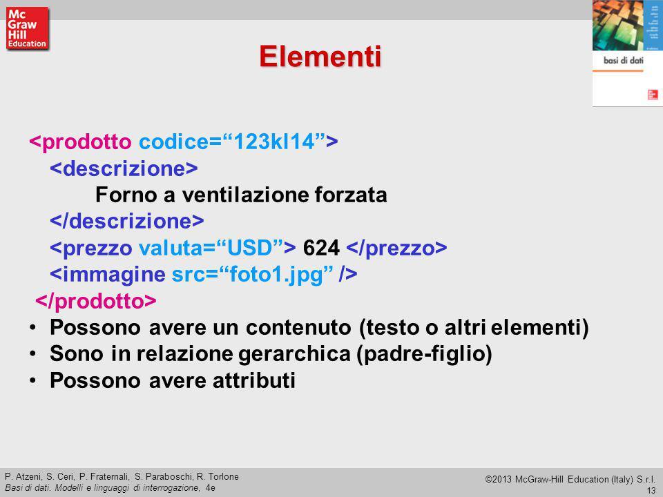 Elementi <prodotto codice= 123kl14 > <descrizione>