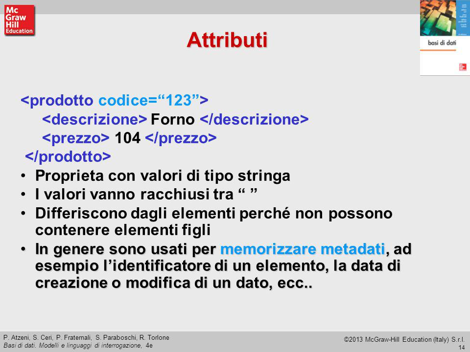 Attributi <prodotto codice= 123 >