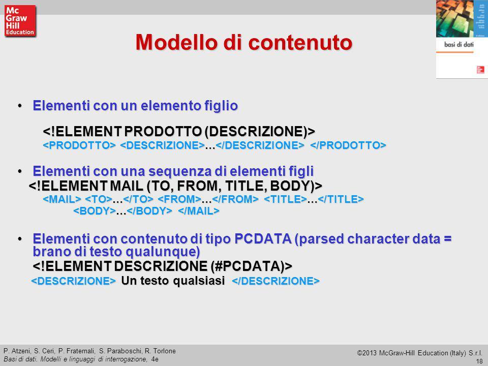 Modello di contenuto Elementi con un elemento figlio