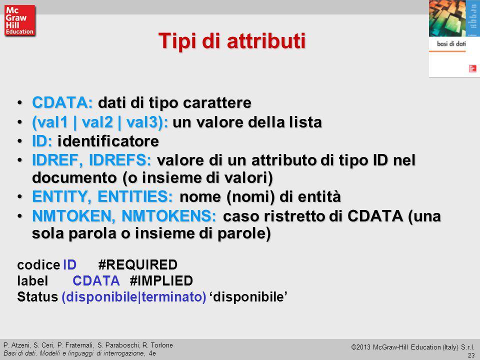 Tipi di attributi CDATA: dati di tipo carattere