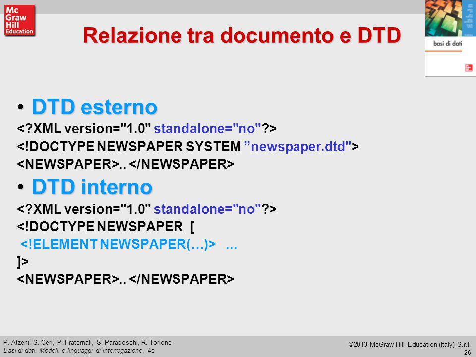 Relazione tra documento e DTD