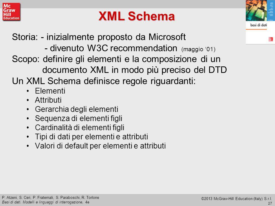 XML Schema Storia: - inizialmente proposto da Microsoft