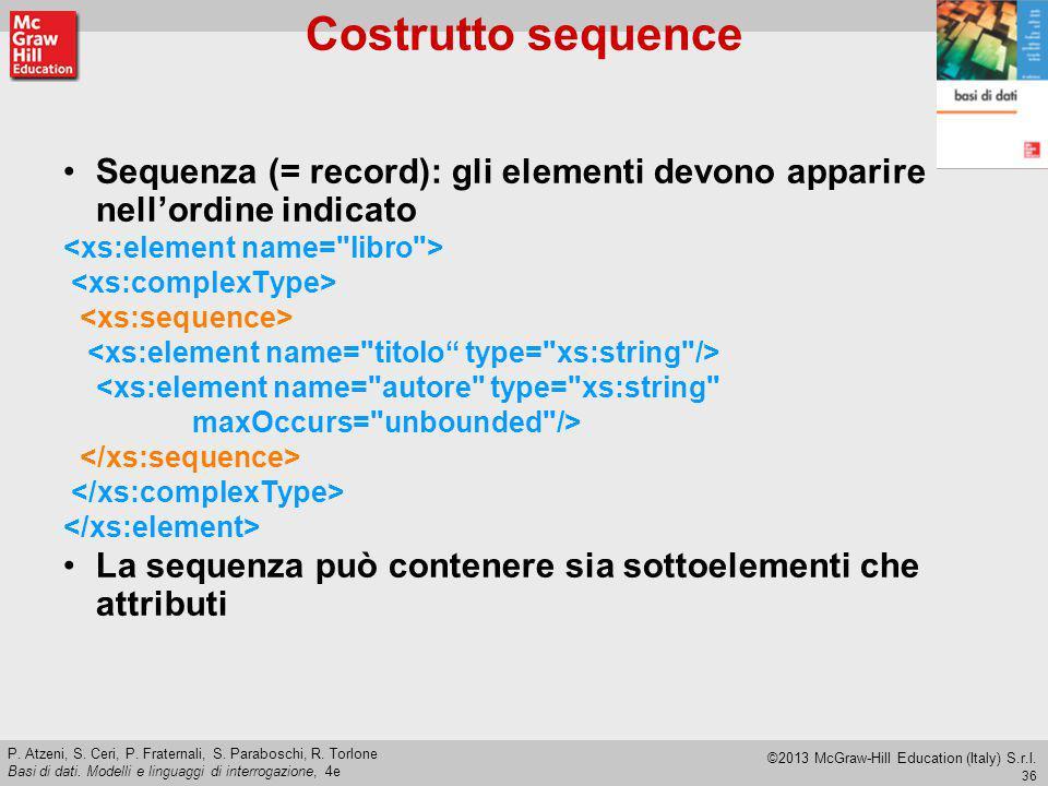 Costrutto sequence Sequenza (= record): gli elementi devono apparire nell'ordine indicato. <xs:element name= libro >