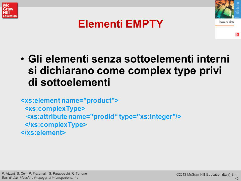 Elementi EMPTY Gli elementi senza sottoelementi interni si dichiarano come complex type privi di sottoelementi.