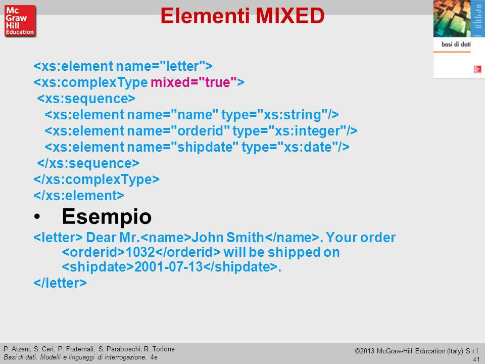 Elementi MIXED Esempio <xs:element name= letter >