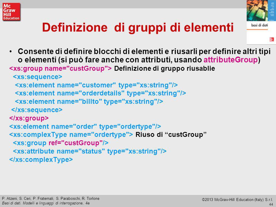 Definizione di gruppi di elementi