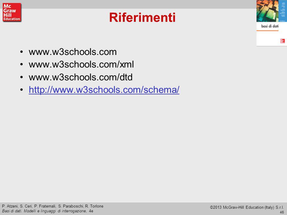 Riferimenti www.w3schools.com www.w3schools.com/xml