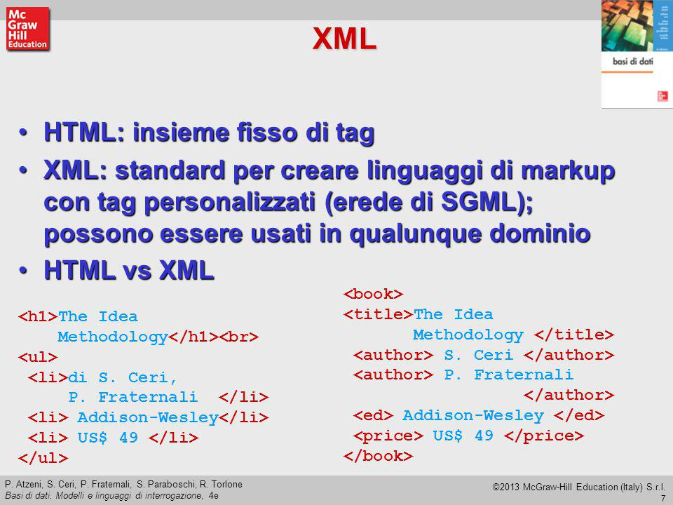 XML HTML: insieme fisso di tag