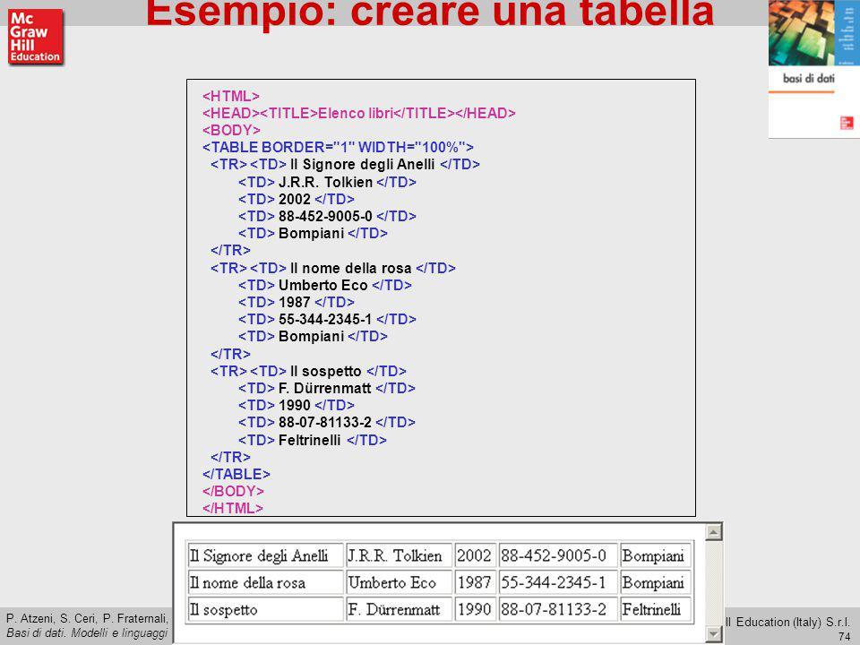 Esempio: creare una tabella