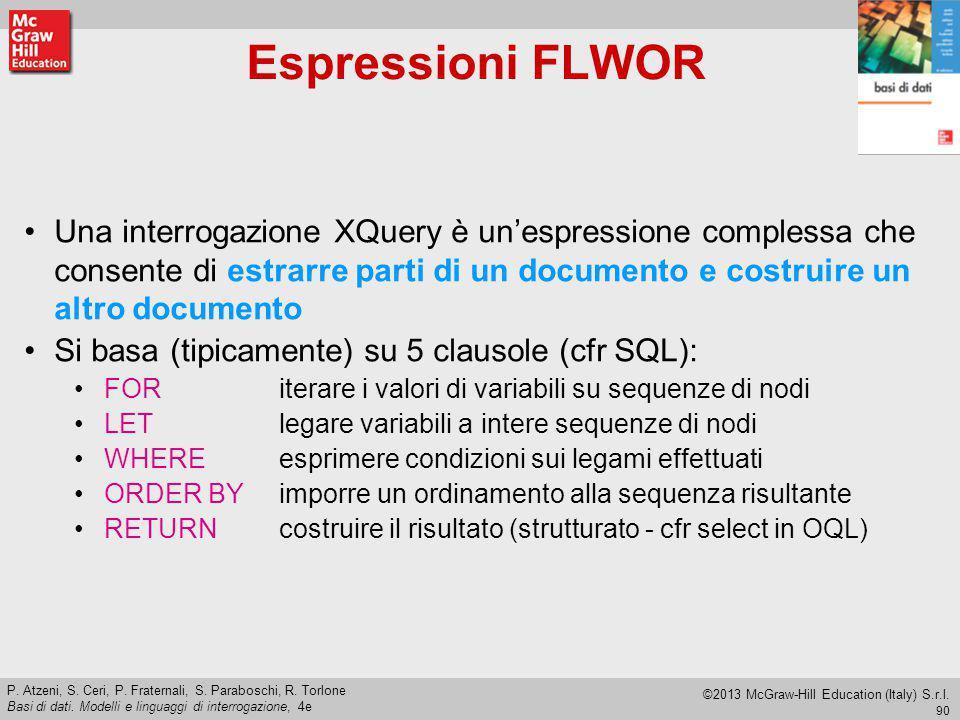 Espressioni FLWOR Una interrogazione XQuery è un'espressione complessa che consente di estrarre parti di un documento e costruire un altro documento.