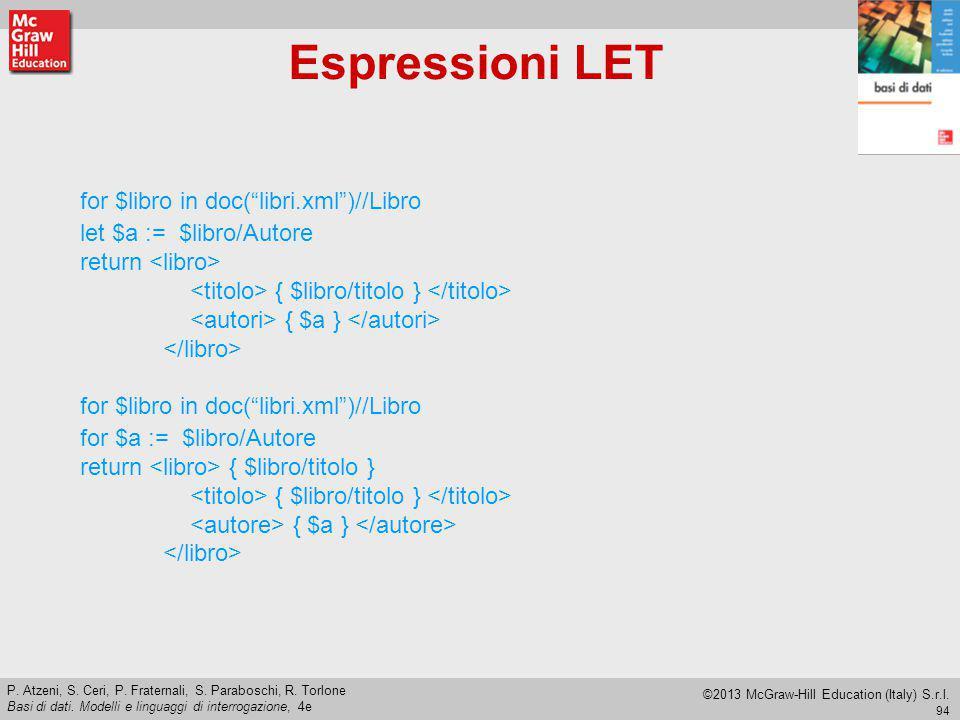 Espressioni LET let $a := $libro/Autore for $a := $libro/Autore
