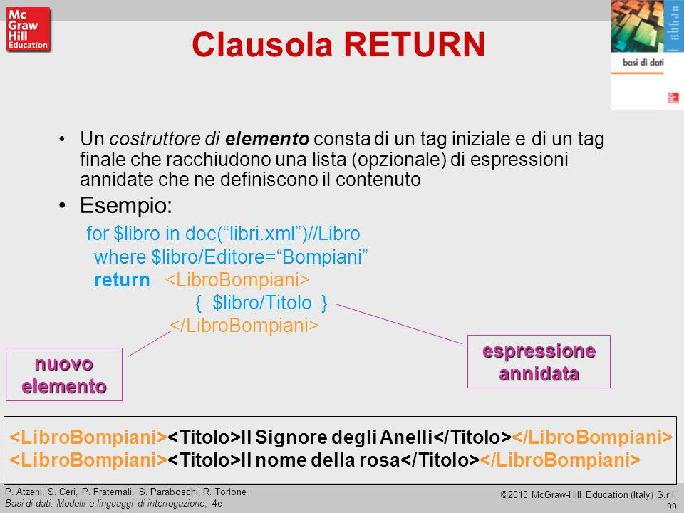 Clausola RETURN Esempio: for $libro in doc( libri.xml )//Libro