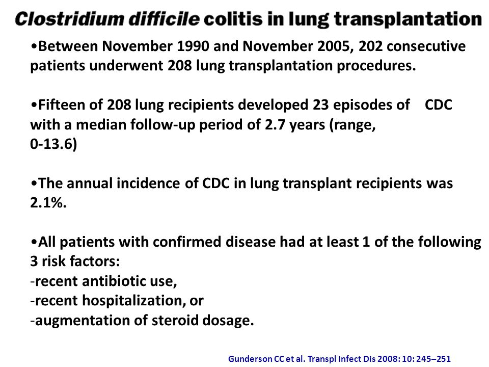 The annual incidence of CDC in lung transplant recipients was 2.1%.