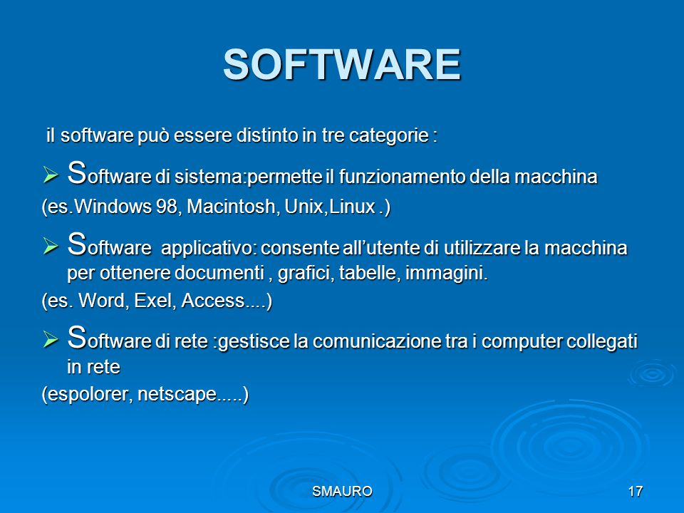 SOFTWARE Software di sistema:permette il funzionamento della macchina