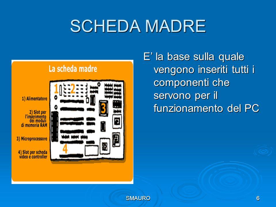 SCHEDA MADRE E' la base sulla quale vengono inseriti tutti i componenti che servono per il funzionamento del PC.