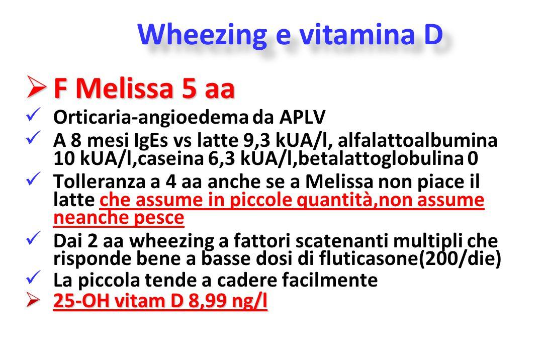 Wheezing e vitamina D F Melissa 5 aa Orticaria-angioedema da APLV