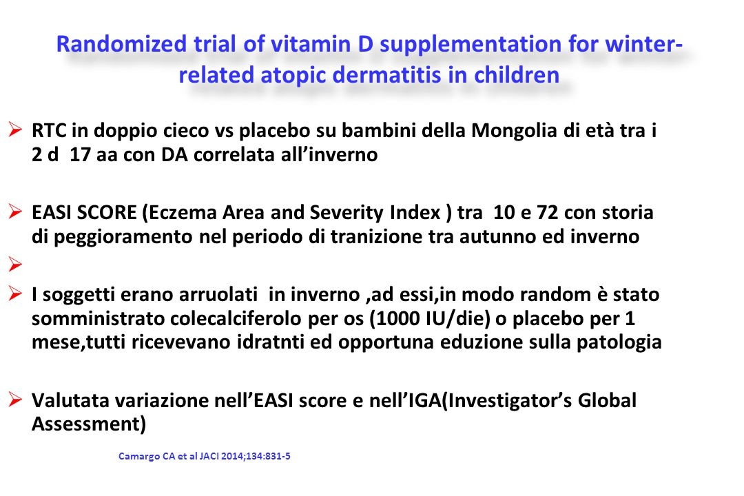 Randomized trial of vitamin D supplementation for winter-related atopic dermatitis in children
