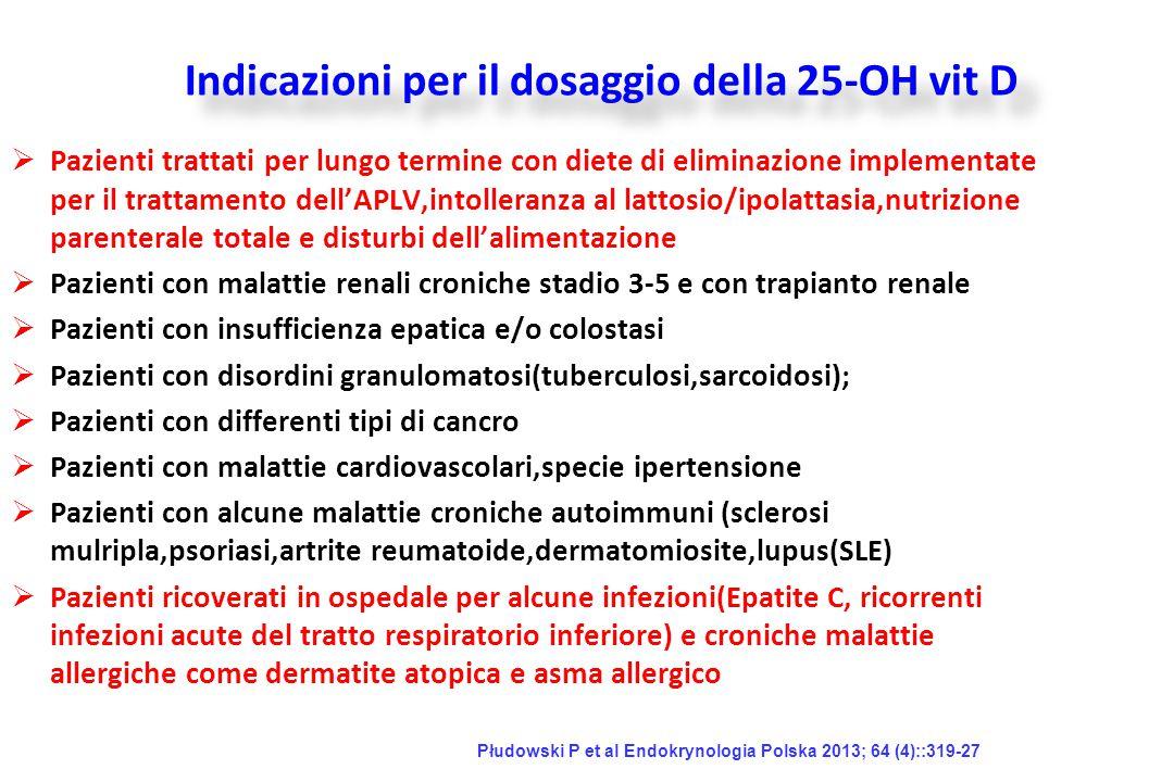 Indicazioni per il dosaggio della 25-OH vit D
