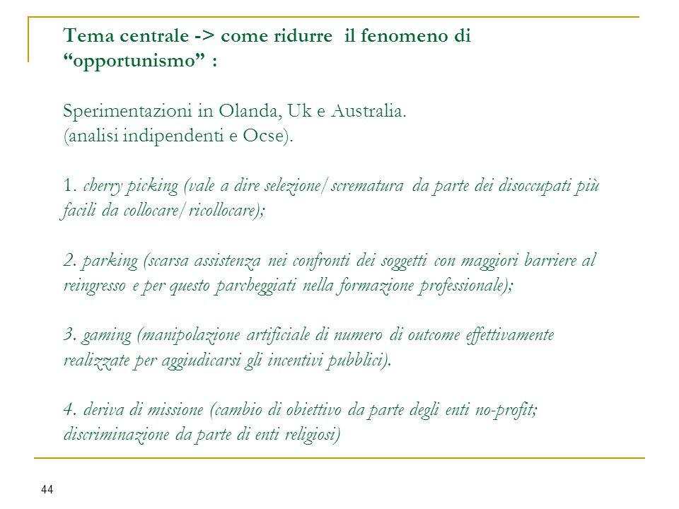 Tema centrale -> come ridurre il fenomeno di opportunismo : Sperimentazioni in Olanda, Uk e Australia.