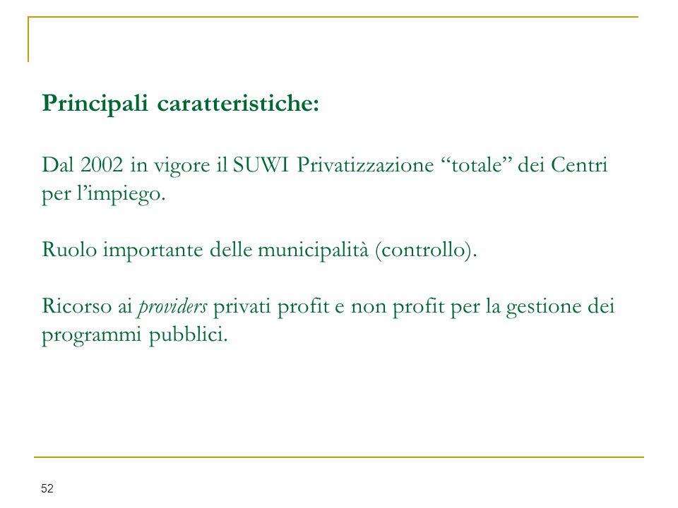 Principali caratteristiche: Dal 2002 in vigore il SUWI Privatizzazione totale dei Centri per l'impiego.