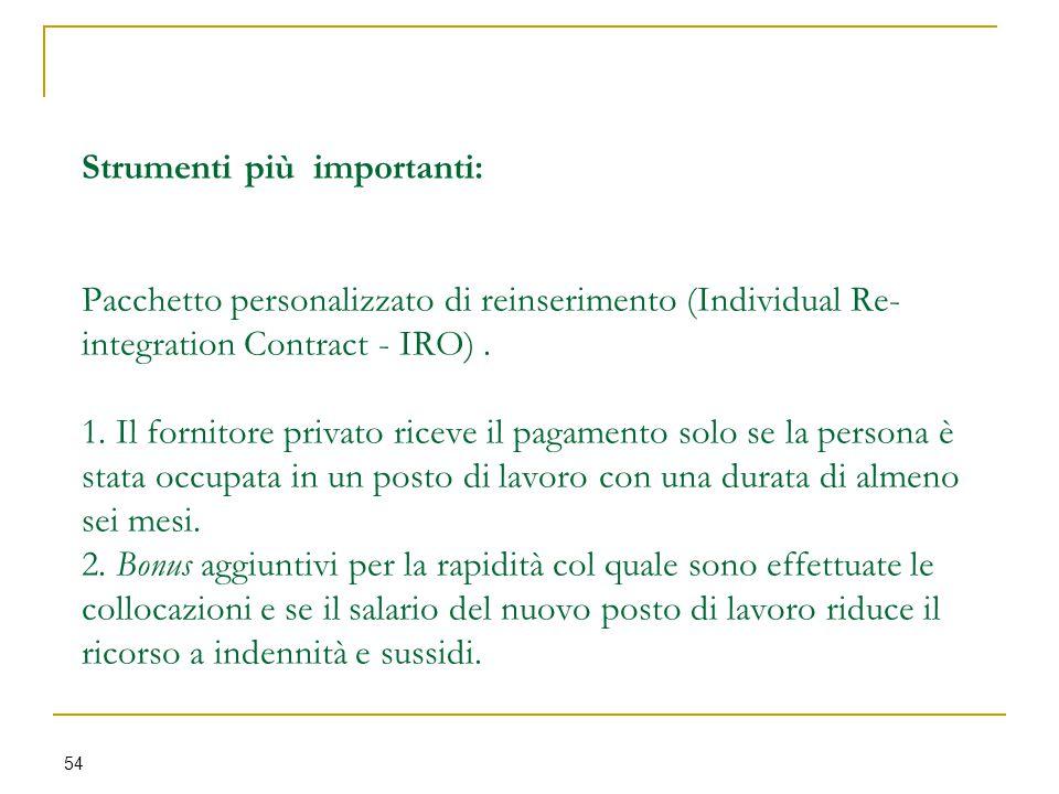 Strumenti più importanti: Pacchetto personalizzato di reinserimento (Individual Re-integration Contract - IRO) .