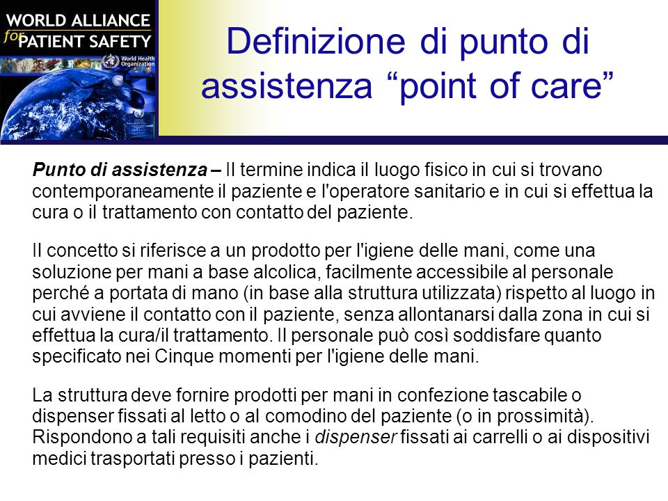 Definizione di punto di assistenza point of care