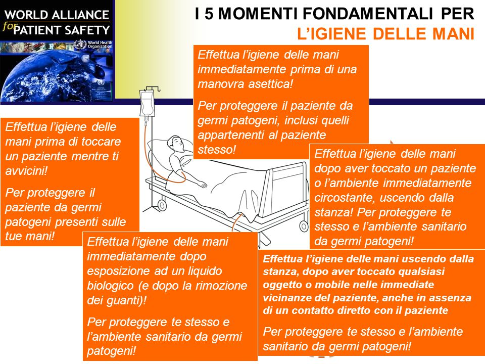 I 5 MOMENTI FONDAMENTALI PER L'IGIENE DELLE MANI