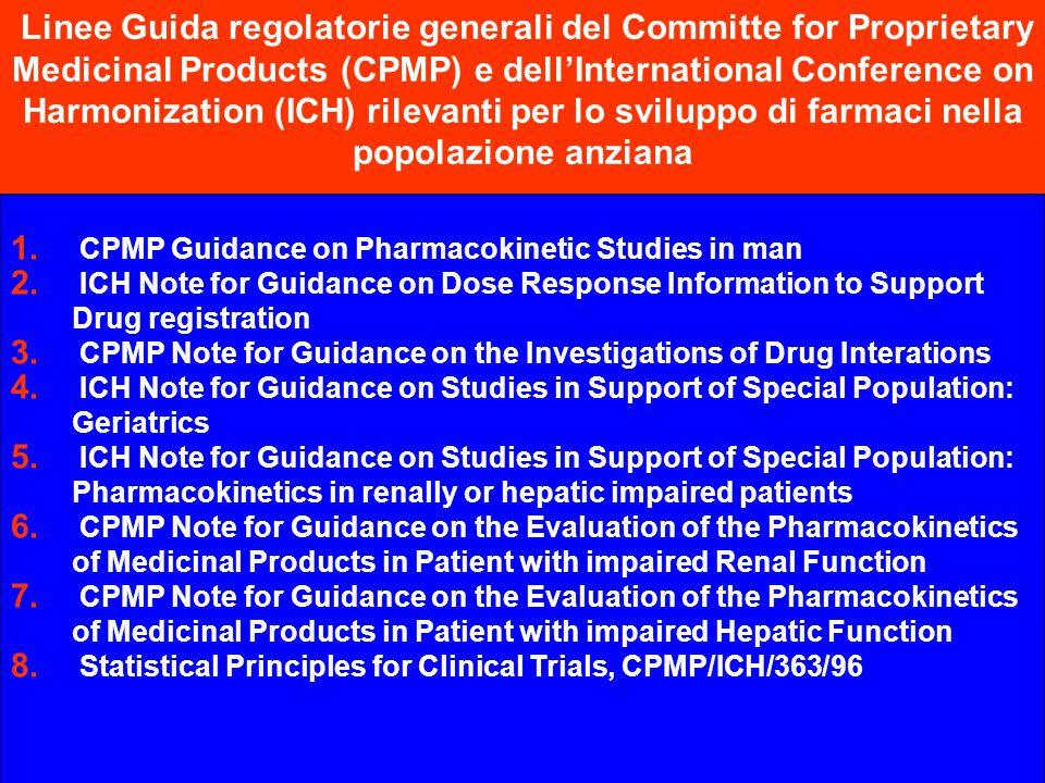 Linee Guida regolatorie generali del Committe for Proprietary Medicinal Products (CPMP) e dell'International Conference on Harmonization (ICH) rilevanti per lo sviluppo di farmaci nella popolazione anziana