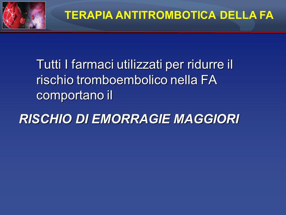 TERAPIA ANTITROMBOTICA DELLA FA RISCHIO DI EMORRAGIE MAGGIORI