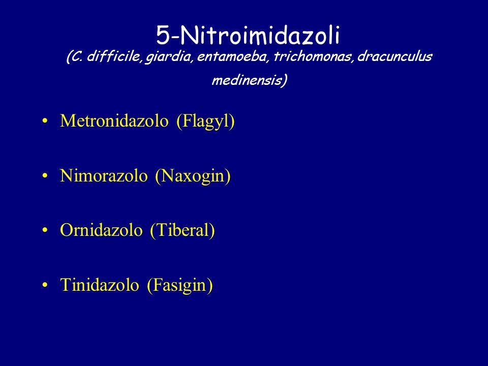 5-Nitroimidazoli (C. difficile, giardia, entamoeba, trichomonas, dracunculus medinensis)